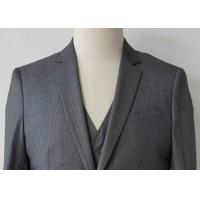 Stripe Mens Light Gray 3 Piece SuitWorsted Wool Flat Pocket Japanese Style