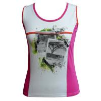 China Summer Round Neck Cotton Jersey Tank Top Womens texture t shirt in White Red on sale