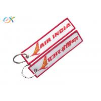 China Letter Embroidered KeychainTag Rectangle Shape Twill Background Fabric for sale