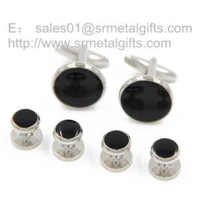 China Black soft enamel cufflink and stud set for men, men's cufflink and stud gift set, on sale