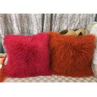 Quality Long Mongolian sheepskin Pillow Two Toned Tibetan lamb fur cushion pillow cover for sale