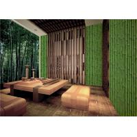 Buy Bamboo Embossed Peelable Durable Velvet Flock Wallpaper Green / Yellow at wholesale prices