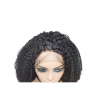 Quality #1B Natural kinky curly style outre perfect hairline 13x6 hand-tied lace front wig for sale