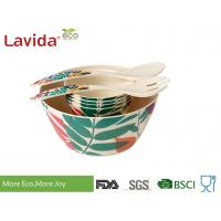 Quality Non Toxic Tasteless Bamboo Salad Bowl Set Waterproof With Customized Prints for sale