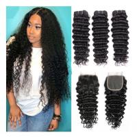 Quality Comfortable Cambodian Virgin Hair Deep Curly Double Wefting 100 Grams / Piece for sale
