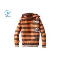 Quality Long Sleeve Orange And Brown Stripes Hooded Knitted Baby Wear For 8 - 16 Years Boys OEM for sale