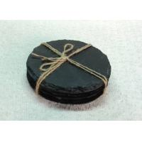 Quality 4 Pieces Slate Round Stone Coasters Eco Friendly For Hotel / Restaurant for sale