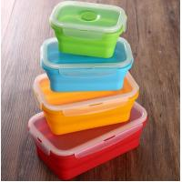 Quality Set of 4 Collapsible Silicone Food Storage Container FDA silicone lunch box for kids for sale