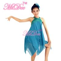 Buy Sleeveless Dance Competition Costumes Short Strapless Dress With Sequin Bodice at wholesale prices