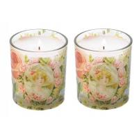 Buy Machine Made Glass Candle Holder With Decal / Sandblasting Glass Cups For Candle at wholesale prices
