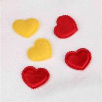 Quality Red Satin Heart Applique Crafts Garment Embellishments With Trimming for sale