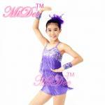 Quality Biketard Confetti Sequin Fringe Dress Kids Purple Latin Dance Costumes for sale