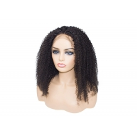 Quality Best sellling kinky curly #1B black remy human hair 13x4 lace front wig for sale