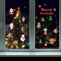 Buy Durable Christmas Wall Stickers PVC 3D Santa Claus Snowman Penguin Pattern at wholesale prices