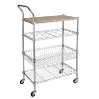 China Kitchen Furniture Wooden Top Metal Multi-Layer Functionality Storage Wire Cart on sale