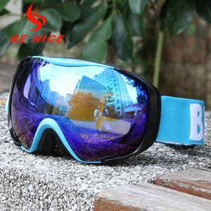 UV Protect Blue Mirrored Ski Goggles Three Layer Foam With Blue TPU Frame