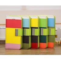 China Mix Colors Leather Case For Iphone 5c Pu Wallet Credit Card Slot Wrist Strap on sale