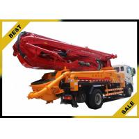 Quality 550L Fuel Tank Cement Boom Truck , Remote Control Concrete Pump Car 24min Pump Frequency for sale