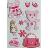 Paper + PVC Puffy cute girl Shaker Sticker for birthday gift eco-friendly for sale