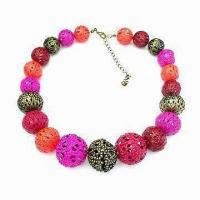 Quality Fashion necklace with colorful beads, made of alloy, fancy and nice, OEM orders are welcome for sale
