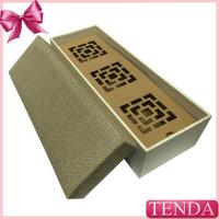 China Long Rectangle Cloth Linen SatinVelvet Velour Fabric Leather Covered Wooden Box for Packaging on sale