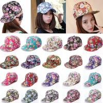 Quality Unisex Hip Hop Floral Flower Polyester Baseball Caps Flat Peaked Adjustable Snapback for sale