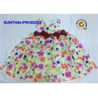 Quality 3D Bows Little Girl Cotton Dresses , Sleeveless Floral AOP Kids Summer Dresses for sale