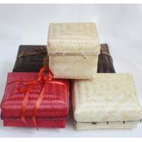 China Bamboo Cases, Bamboo stand up Pouches in antique finish for Gifts packaging with ribbon on sale
