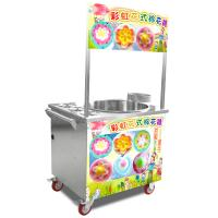 Quality Silver model stainless steel gas cotton candy machine with wheels for sale