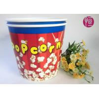 Quality Food Grade Paper Popcorn Buckets With Paper Lid , Top180mm 85oz Paper Cups for sale