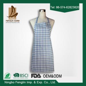 Fashion Unisex Checker Yarn Dyed Cotton Bib Kitchen Apron With No Sleeve