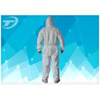 Quality Anti - Acid White Disposable Coverall Suit Microporous Film Laminated Fabric for sale
