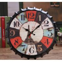 Quality Retro Style ​Paris SES Monument Metal Wall Clock Round Beer Bottle Cap Shape Iron Wall Clock Home Bedroom Bar Art Decor for sale