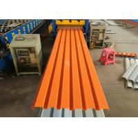 Quality Orange Color Powder Coated Corrugated Steel Roofing Sheets / Corrugated Metal Panels for sale