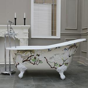 Quality freestanding double slipper cast iron bathtub on feet for sale