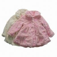 China Girl's Winter Dress Coat, Kid's Fur Coats, Cute Girl's Coat, Plain Color, with Floral Embroidery on sale