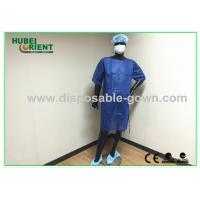 Quality PP SMS Material Surgical Gown with Ultrasonic Heat Seal White / Blue Color for sale