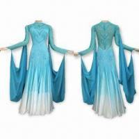 Quality Korean Rhinestones Decorated Ballroom Dress, Made of Lycra/Chiffon, Customized Sizes are Accepted for sale