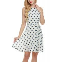 Bow Waist Short Chiffon Summer Dresses , Plus Size Polka Dot Maxi Dress