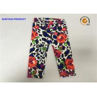 Quality Rose Print Cute Baby Girl Leggings Lycra Jersey No Side Seam Pant SGS Approved for sale