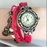 Quality Guitar Style Leather Strap Ladies Bracelet Watches With Stainless Steel Case Back for sale