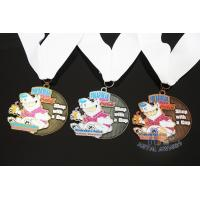 Quality Soft Enamel Sports Medals And Ribbons With Black Nicekl Plating , Sublimated Ribbon for sale