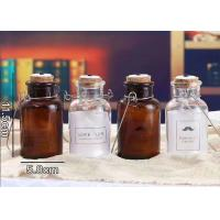 Quality Cork And Iron Handle Glass Candle Jars For Light Bulb / Brown Glass Container for sale