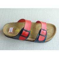 China Two Belts Comfort Cork Slippers , Single Red Soft Footbed Slippers on sale
