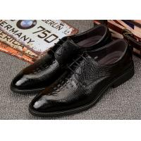 Low Heel Almond Toe Dress Shoes , Mens Black Leather Derby Shoes For Wedding