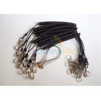 Quality Power Tool Coiled Lanyard Holders Black Steel Cable With Snap Hooks / Wire Loop for sale