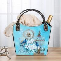 China Multifunctional Home Decoration Colorful Shoulder Wine Basket with Bird Cage Flower Pattern Portable Beer Gift Baskets on sale