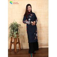 Quality Ethnic Embroidery Cotton Winter Clothing Slim Cotton Padded Qipao With Long Sleeve for sale