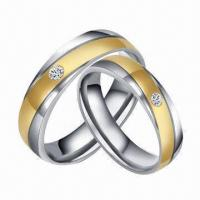 Quality Brilliant Stainless Steel Gold Stripe Wedding/Couple Rings, Customized Designs Available for sale