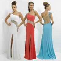 China A Line Chiffon Crystal Evening Party Gowns With One Shoulder Prom Dresses on sale